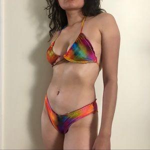 Luli Fama Tie Dye Rainbow Two Piece String Bikini